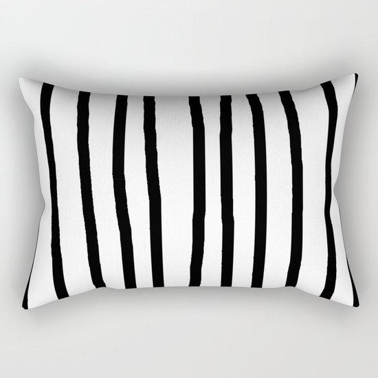 Simply Drawn Vertical Stripes in Midnight Black Rectangular Pillow