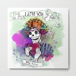 Day of the Dead Sugar Love Metal Print