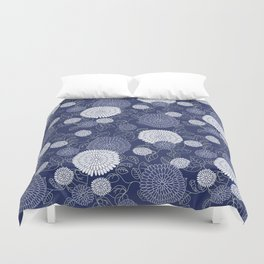 Indigo Chrysanthemums Duvet Cover
