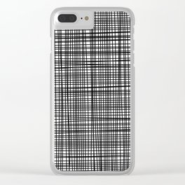 black and white grid Clear iPhone Case