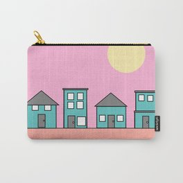 Pink Sky - Row of Houses Carry-All Pouch