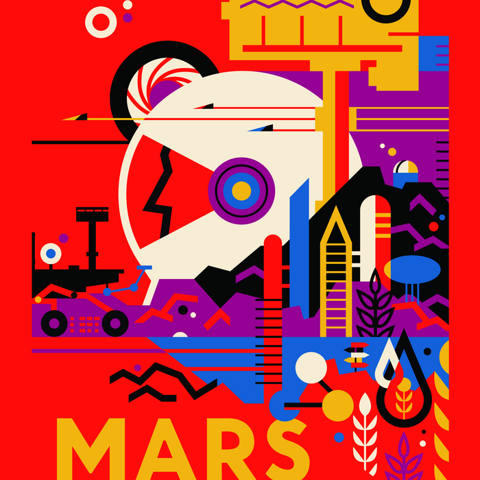 NASA Mars The Red Planet Retro Poster Futuristic Best Quality Comforters