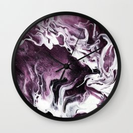 Fluid Expressions - Plums and Cream Wall Clock