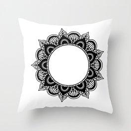 Mandala: black and white Throw Pillow