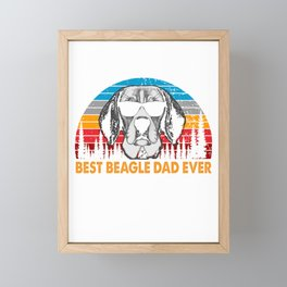 Best Beagle Dad Ever Funny Dog Daddy Retro Sunrise Dogs Owner Sun Glasses Tee Father's Day Gift Ideas Framed Mini Art Print