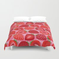 strawberry Duvet Covers featuring Strawberry by Helene Michau