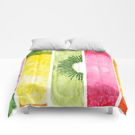 Summer Fruits Watercolor Abstraction Comforters