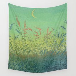 Pan Berlin - 1896-1897 Beautiful Turquoise Sunset Landscape Wheat Field With Moon Wall Tapestry