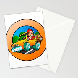 Cartoon man in delivery car Stationery Cards