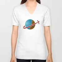 spaceship V-neck T-shirts featuring Spaceship! by JeffMcDowallDesign
