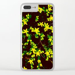 A Bunch of Tiny Yellow Star Flowers Clear iPhone Case