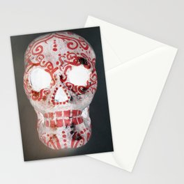 Red and White Sugar Skull Stationery Cards