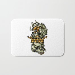 Deathly Lion -  Lion on Dead Skull Bath Mat