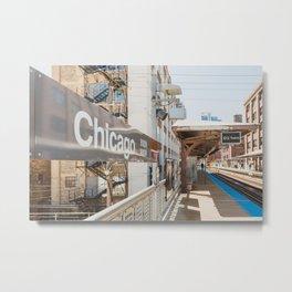 Chicago El Stop Metal Print