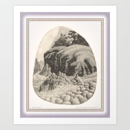 WILDERNESS SHORE VINTAGE CHARCOAL DRAWING Art Print