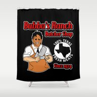 butcher billy Shower Curtains featuring Bubba's Ranch - Butcher Shop by Buby87