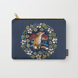 Fox and Flower Tapestry Original Watercolor Carry-All Pouch