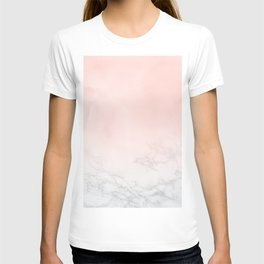 Blush Pink on White and Gray Marble T-shirt