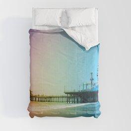 Santa Monica Pier Rainbow Colors LGBTQ Gay Pride Comforters