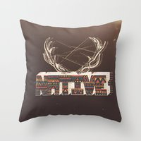 native american Throw Pillows featuring Native by Pilgrim