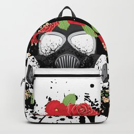 Gas Mask with Red Roses Backpack