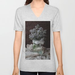 Wild Asters in a Mason Jar Unisex V-Neck