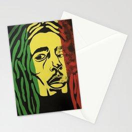 rasta man,vibration,jamaica,reggae,music,smoke,ganja,weed,pop art,portrait,wall mural,wall art,paint Stationery Cards