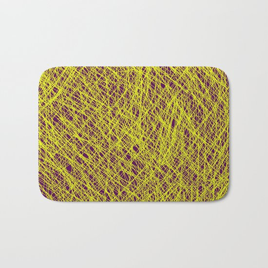 Expressive Yellow (Abstract, purple and yellow) Bath Mat