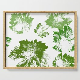 Green leaves stamp Serving Tray