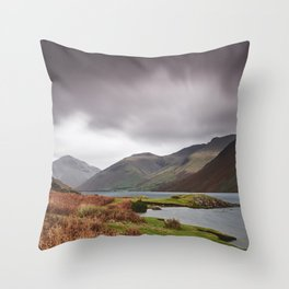 Rain clouds over Scafell and Great Gable. Wastwater, Cumbria, UK. Throw Pillow
