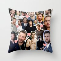 chris evans Throw Pillows featuring Chris Evans by lastminutebinge