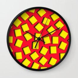 yellow square holes Wall Clock