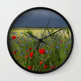 Summer Thunderstorm looming over a freshly mowed field and poppy flowers. | Nature & landscape photography from Holland | Fine art photo print in color.  Wall Clock