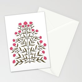 Indian Floral Motif Pattern - Pink Stationery Cards