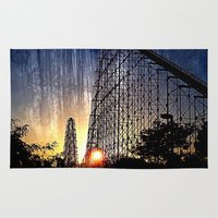 coasters Area & Throw Rugs featuring Mamba Roller Coaster at Sunset Grunge by The Eclectic Mind