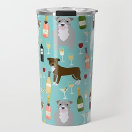 Pitbull wine champagne dog breed pet portrait pet friendly gifts for dog lovers Travel Mug