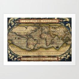 Ortelius World Map by Abraham Ortelius 1570 Typvs Orbis Terrarvm Art Print