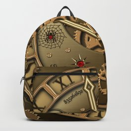 Steampunk clock gold Backpack