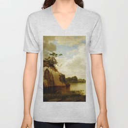 Catnip Island Near Greenwih Ct 1879 By David Johnson | Reproduction | Romanticism Landscape Painter Unisex V-Neck