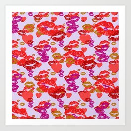 Hearts and Kisses Art Print