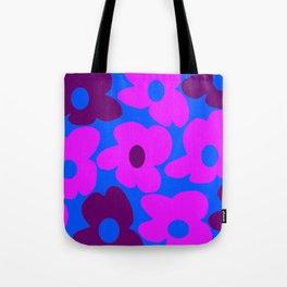 Large Pink and Purple Retro Flowers Blue Background #decor #society6 #buyart Tote Bag