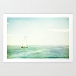 Sailboat Coastal Photography, Sail Boat Ocean Sea Photo Art Print