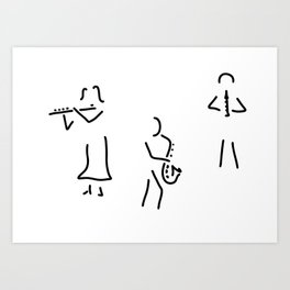 transverse flute saxophone flautist wooden Art Print