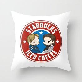 Starbucks - Steve Rogers and Bucky Barnes Iced Coffee  Throw Pillow