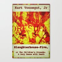 kurt vonnegut Canvas Prints featuring Kurt Vonnegut, Slaughterhouse Five by busylittle1way