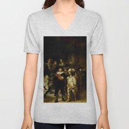 Rembrandt, The night watch, de nachtwacht Unisex V-Neck