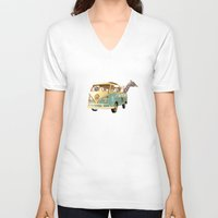 never stop exploring V-neck T-shirts featuring NEVER STOP EXPLORING THE BEACH by Monika Strigel