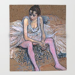 Dancer in Pink Tights Throw Blanket