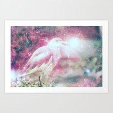 Galaxy space bird Art Print
