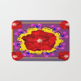 Puce Red Hibiscus Tropical  Flowers Purple-Yellow Art Bath Mat